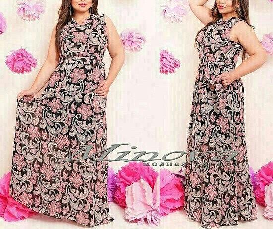 """Красивое женское платье """"шифон на подкладке"""" 48, 52 размер норма"""