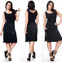 """Комфортное женское платье с поясом """"ткань лён"""" 46, 48 размер норма"""