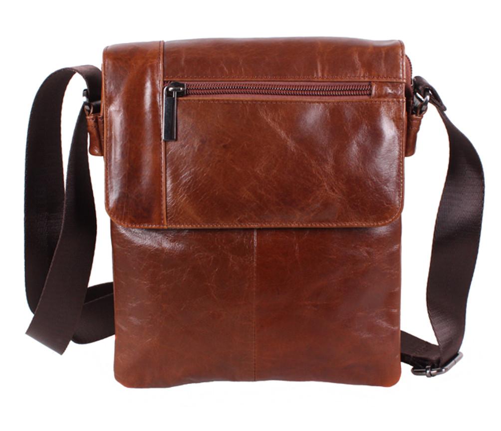 Удобная мужская кожаная сумка коричневая Vintage TR-38032-2