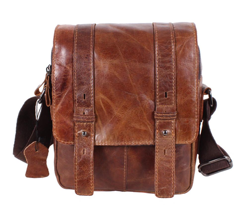 Компактная мужская кожаная сумка коричневая в винтажном стиле TR-1540-