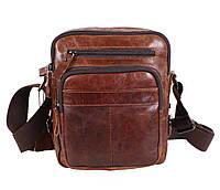 Небольшая мужская кожаная сумка коричневая TR-5262-2