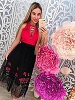 Модная черная женская юбка с вышивкой розы тренд 2017