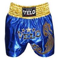 Трусы для тайского бокса VELO ULI-9200-B синие с золотым