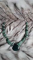 Великолепное ожерелье из натурального камня нефрит + моховый агат.