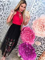 Модная черная женская юбка с вышивкой тренд 2017