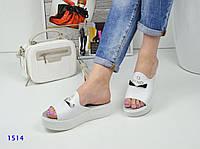 Стильные и комфортные кожаные шлепки, сабо белого цвета в стиле Fendi