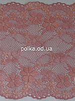 Стрейчевое кружево -055,ширина 16.5см,цвет розовый