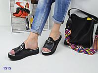 Стильные и комфортные кожаные шлепки, сабо черного цвета в стиле Fendi
