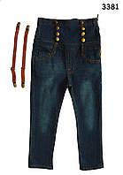 Джинсы высокие с корсетом и подтяжками для девочки. 130 см