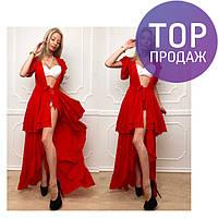 Пляжная туника красного цвета, креп-шифон, длинная / женская туника 2017, модная
