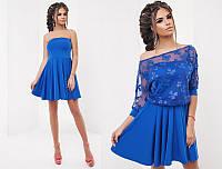 Красивый нарядный летний женский комплект платье клеш с открытыми плечами+блузка    +цвета