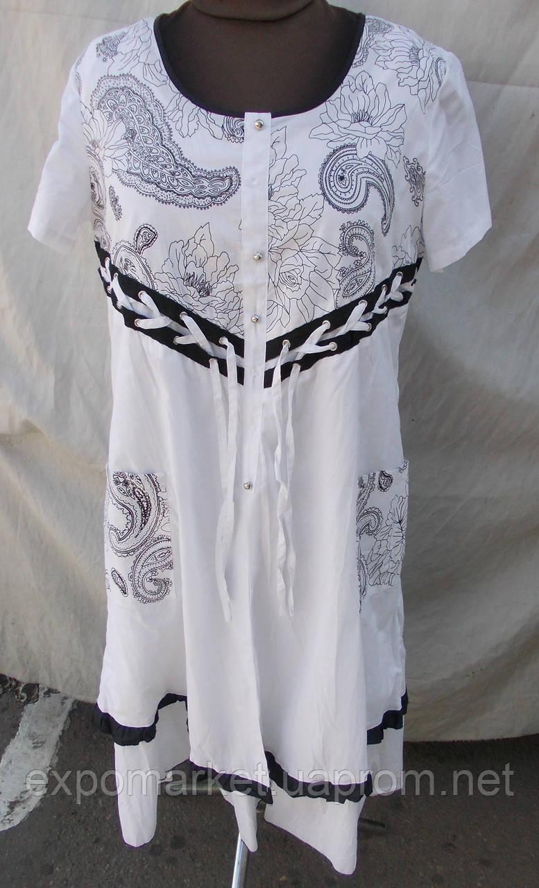 Стильное летнее белое платье - котон штапель