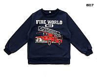 """Теплая кофта """"Пожарная машина"""" для мальчика.120, 130 см"""