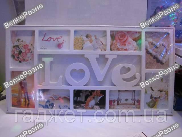 "Рамка коллаж на 10 фото LOVE. ФОТОРАМКА КОЛЛАЖ LOVE НА 10 ФОТО, БЕЛАЯ. Фоторамка""Love"" на 10 фотографий"