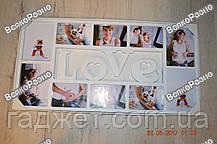 """Рамка коллаж на 10 фото LOVE. ФОТОРАМКА КОЛЛАЖ LOVE НА 10 ФОТО, БЕЛАЯ. Фоторамка""""Love"""" на 10 фотографий, фото 2"""