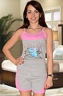 Пижама (майка и шорты) (Серый с розовым)