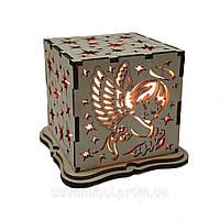 """Соляной светильник """"ангелок куб деревянный"""""""