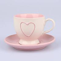Чашка с блюдцем розовая с сердцем HP458