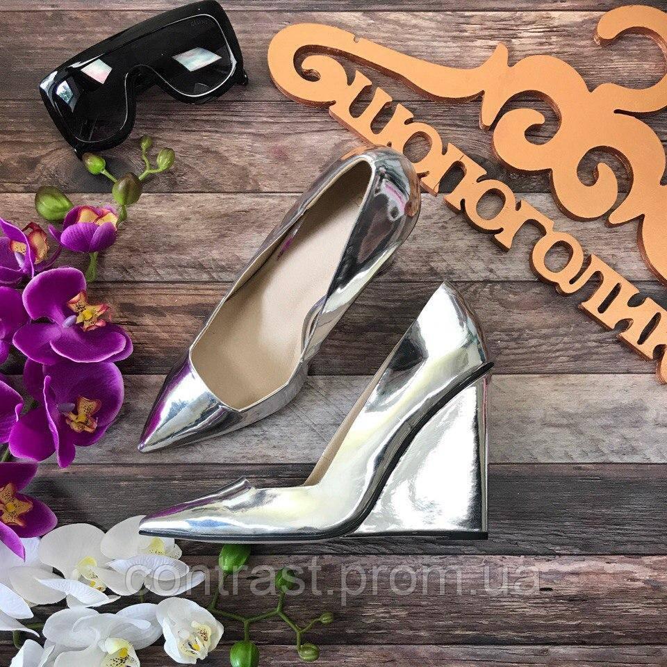 ac23ac4eae1 Невероятные зеркальные туфли Asos на клиновидной танкетке SH2662 - Интернет  Магазин стильной одежды shopagolic. Сток