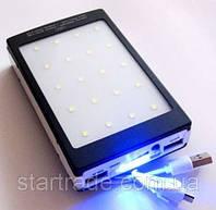 Портативная зарядка на солнечной батарее Power Bank Solar 15000mAh + LED панель + фонарик
