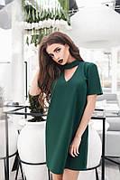 Зеленое мини платье с чокером m