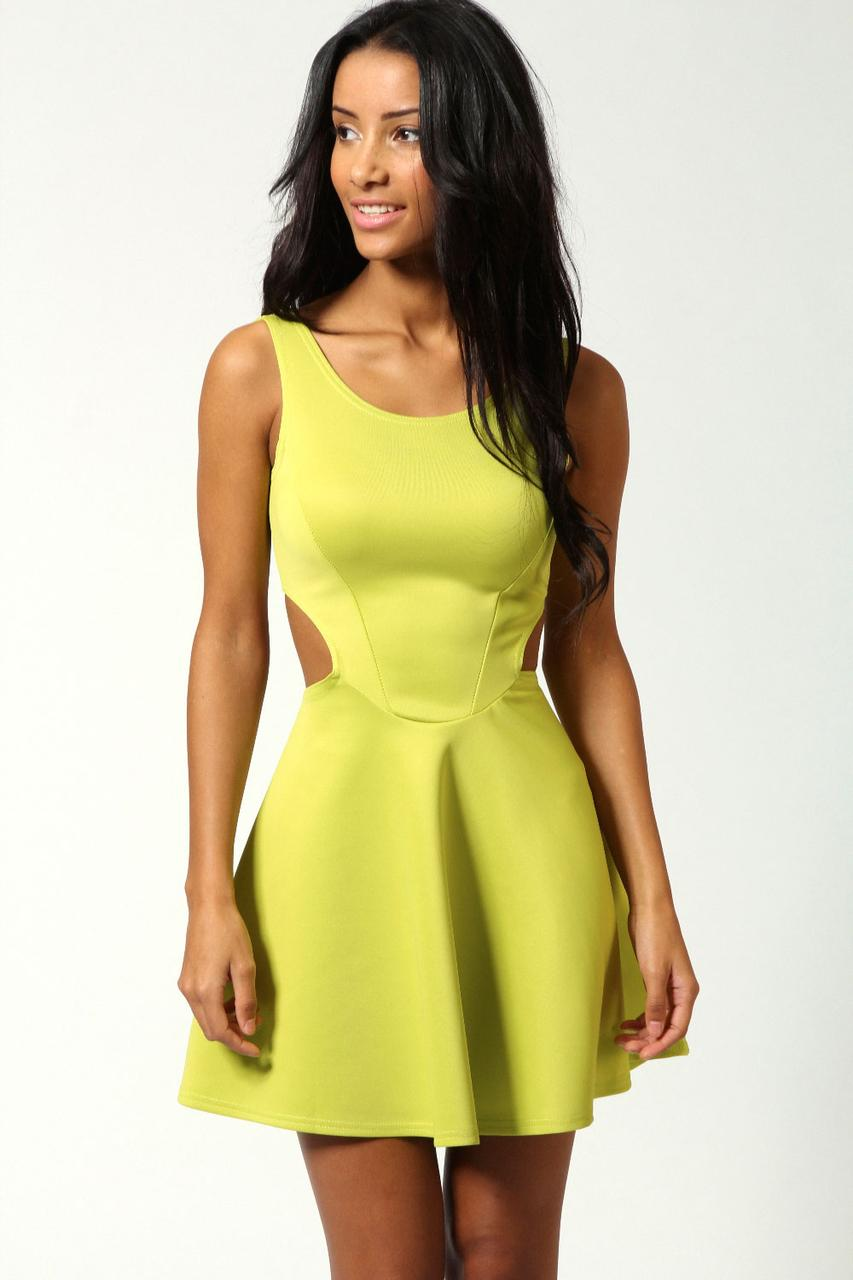 Новое платье с вырезами по бокам цвета лайма Boohoo
