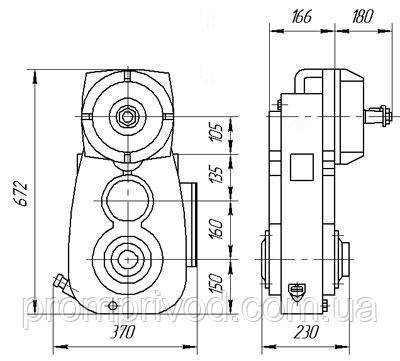 Схема габаритных и присоединительных размеров редуктора А-400