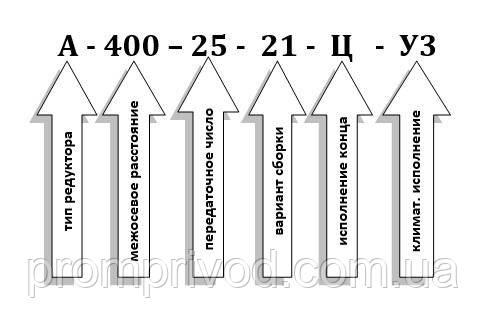 Условные обозначения при заказе редуктора А-400-25