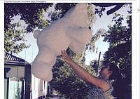 Фотоотзыв. Клиент из США заказал для девушки мишку 110 см белого цвета