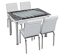 """Розкладний стіл обідній кухонний комплект стіл і стільці 3D малюнок 3д """"Сірі дошки"""" ДСП скло 70*110 Лотос-М"""