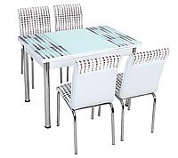 """Розкладний стіл обідній кухонний комплект стіл і стільці 3D малюнок 3д """"Кульки"""" ДСП скло 70*110 Лотос-М, фото 1"""