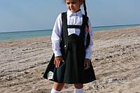 Сарафан школьный зеленый штрих