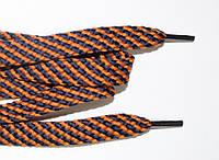 Шнурки плоские 15мм. (чехол) горчица+т.синий, фото 1