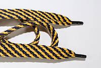 Шнурки плоские 15мм. (чехол) желтый+т.синий, фото 1
