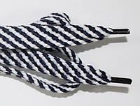 Шнурки плоские 15мм. (чехол) белый+т.синий