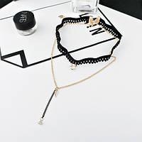 Чокер из черной ленты с подвеской  и цепочкой, фото 1