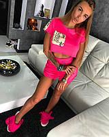Молодежный, женский, летний костюм футболка + шорты (неоновая тринить, вставки - люрекс с 3d буквами)