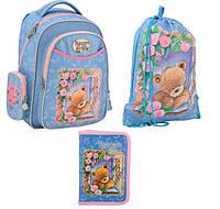 Набор первоклассника для девочки Рюкзак, сумка для обуви, пенал Kite Popcorn Bear 511