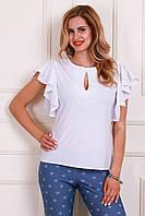 Белая женская блуза с коротким рукавом воланом