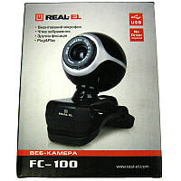 Web камера  REAL-EL FC-100 Black  USB   1.3Mp(с микрофоном)(Акция!!!)