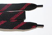 Шнурки плоские акрил (чехол) 15мм, черный+красный , фото 1