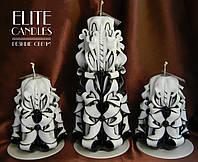 Свадебные черные свечи, комплект из трех свечей для семейного очага