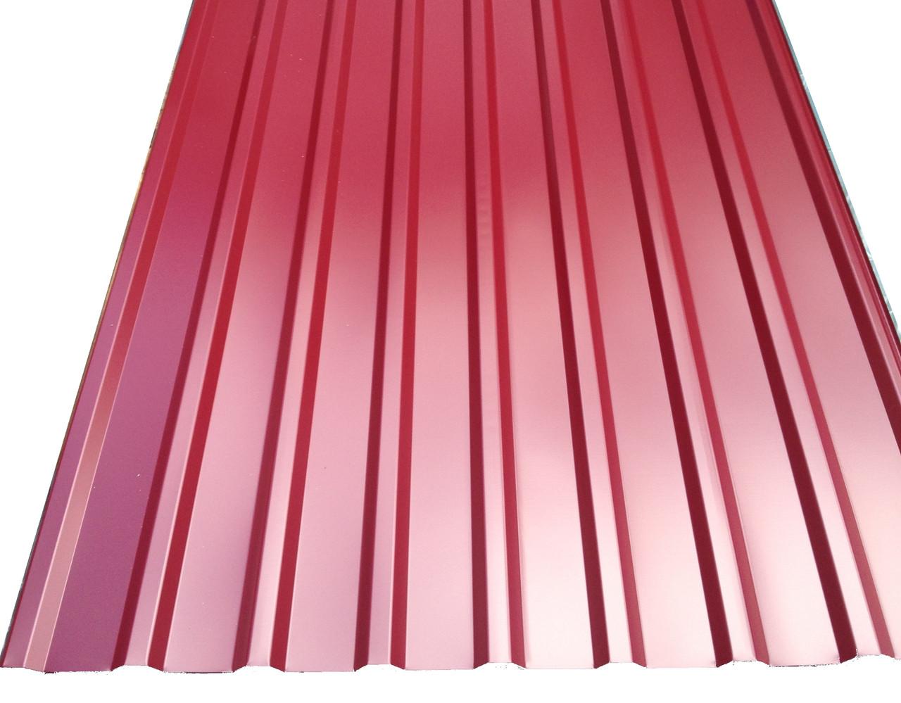 Профнастил покрівельний ПК-20 червоний товщина 0,4 розмір 2Х1,15м