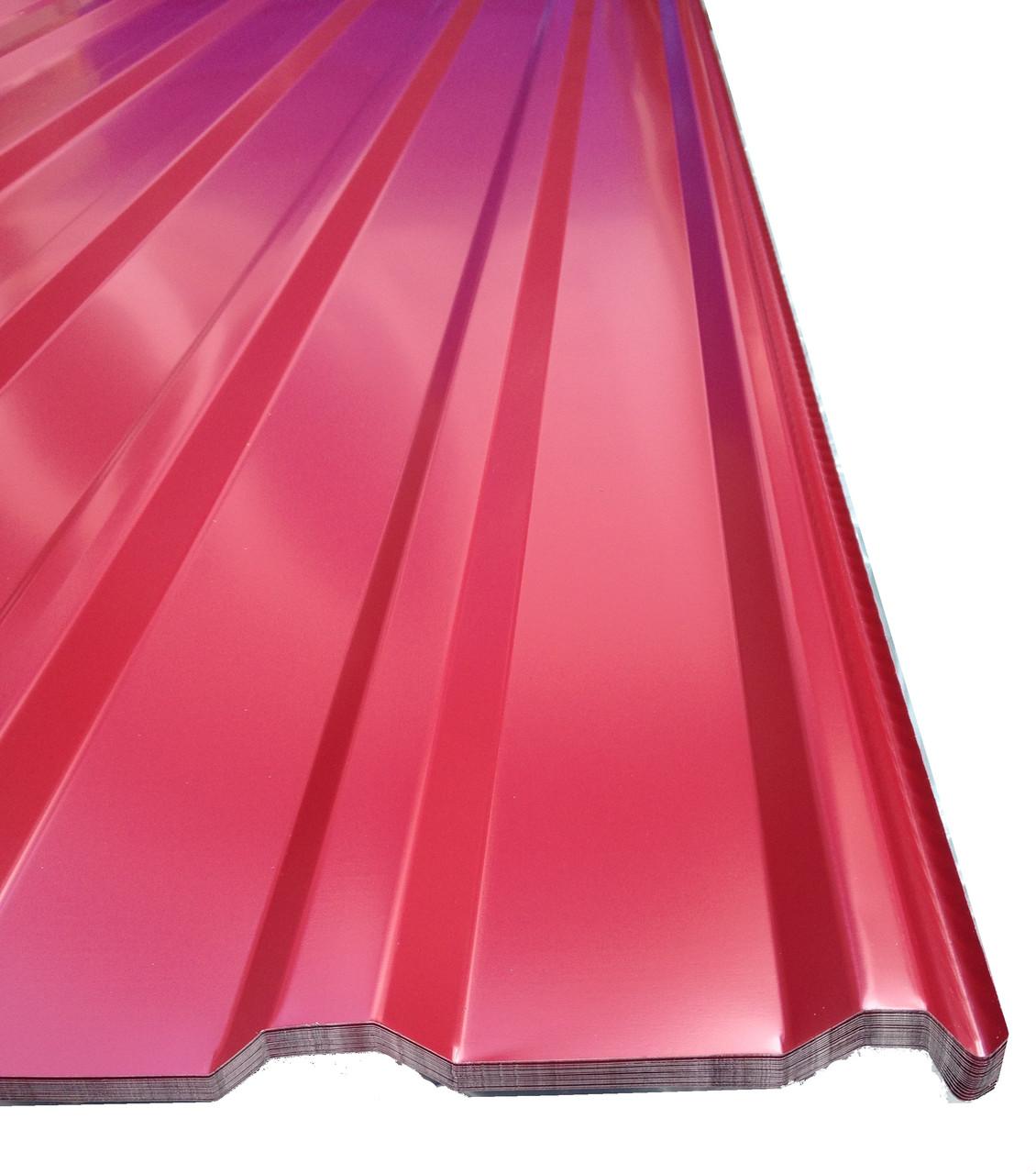 Профнастил кровельный  ПК-20 красный толщина 0,4 размер 1,5Х1,15м