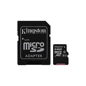 Карта памяти Kingston 64GB microSDXC C10 UHS-I + SD адаптер (SDC10G2/64GB)