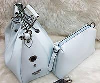 Женская брендовая сумка Guess Гесс цвет голубой