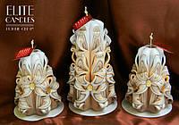 Свадебные кофейные свечи, очень нежного приятного цвета с красивыми бусинками.