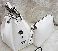 Женская брендовая сумка Guess Гесс цвет белый