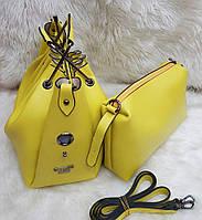 Женская брендовая сумка Guess Гесс цвет желтый