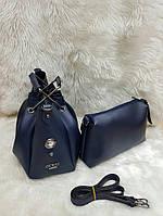 Женская брендовая сумка Guess Гесс цвет темно-синий